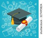 university student cap mortar... | Shutterstock .eps vector #327495824