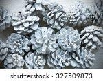 white fir cones on wooden... | Shutterstock . vector #327509873