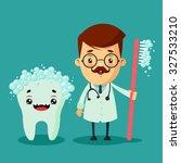 cartoon dentist and big cute... | Shutterstock .eps vector #327533210