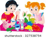 little kids with craft equipment | Shutterstock .eps vector #327538754