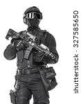 studio shot of swat operator... | Shutterstock . vector #327585650