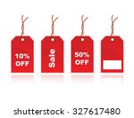 shiny red sale tags with 10 off ... | Shutterstock . vector #327617480