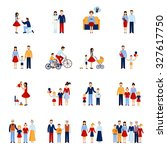 family icons set with parents... | Shutterstock . vector #327617750