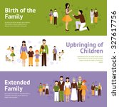 family horizontal banner set... | Shutterstock . vector #327617756