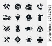 fire fighter icons set.... | Shutterstock .eps vector #327617939