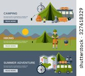 camping horizontal banner set... | Shutterstock . vector #327618329