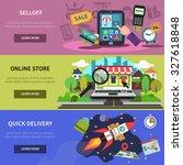 online banner horizontal set... | Shutterstock . vector #327618848