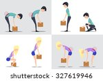 proper and improper lifting.... | Shutterstock .eps vector #327619946