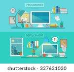 workspace horizontal banner set ...   Shutterstock . vector #327621020