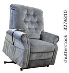 Contemporary Lift Chair with Recliner in Blue Tweed Fabric - stock photo