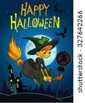 cute witch flying on her broom... | Shutterstock .eps vector #327642266