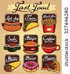 fast food set | Shutterstock .eps vector #327646280