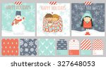 big set of three christmas... | Shutterstock .eps vector #327648053
