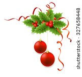 vector christmas holly with... | Shutterstock .eps vector #327658448
