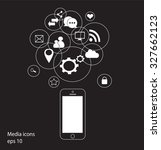 mobile phone vector with social ...