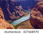 colorado river cuts through... | Shutterstock . vector #327668570