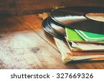 records stack with record on... | Shutterstock . vector #327669326