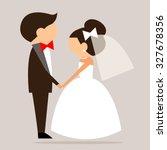 cartoon bride and groom sideways | Shutterstock .eps vector #327678356