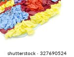 Small photo of abstract image colorful vertical position paper texture isolated on white background