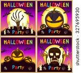 happy halloween card.... | Shutterstock .eps vector #327695930