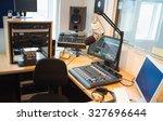 modern equipment on desk in... | Shutterstock . vector #327696644