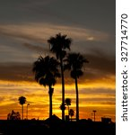 Small photo of September 28, 2015 Sunset and afterglow over Tucson, Arizona, USA with the Palm Trees silhouetted against the orange sky.