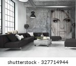 living room of a penthouse... | Shutterstock . vector #327714944