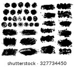 set of black ink stains  grunge ... | Shutterstock .eps vector #327734450