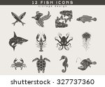 set of vintage fish and sea... | Shutterstock .eps vector #327737360