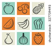 icons set of fruits and... | Shutterstock .eps vector #327739493