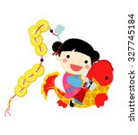chinese new year   girl | Shutterstock .eps vector #327745184