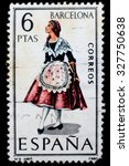 spain   circa 1967  a postage... | Shutterstock . vector #327750638