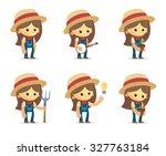 cartoon farm girls   Shutterstock .eps vector #327763184