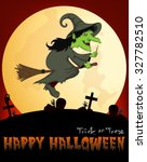 witch flying on a broom under... | Shutterstock . vector #327782510
