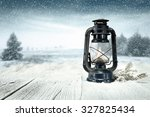 blue winter night and blue lamp ... | Shutterstock . vector #327825434