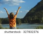 the boy raised his hands up... | Shutterstock . vector #327832376
