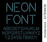 alphabet written with neon... | Shutterstock .eps vector #327838658