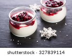 jelly with berries in glass jar ... | Shutterstock . vector #327839114