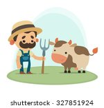 farmer with cow   Shutterstock .eps vector #327851924