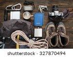 travel items near backpack on...   Shutterstock . vector #327870494