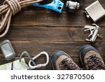top view of travel equipment... | Shutterstock . vector #327870506
