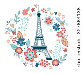 concept love card with eiffel... | Shutterstock .eps vector #327884138