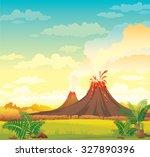prehistoric landscape with... | Shutterstock .eps vector #327890396