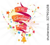 christmas card with ribbon and... | Shutterstock .eps vector #327901658