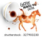 poster drawn imprint of horse... | Shutterstock .eps vector #327903230