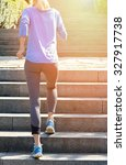 female athlete running on... | Shutterstock . vector #327917738