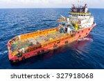 anchor handling tug in action | Shutterstock . vector #327918068