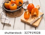 Delicious Orange Persimmons On...