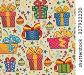christmas seamless pattern with ... | Shutterstock .eps vector #327922220