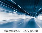 blue color tunnel car driving... | Shutterstock . vector #327942020